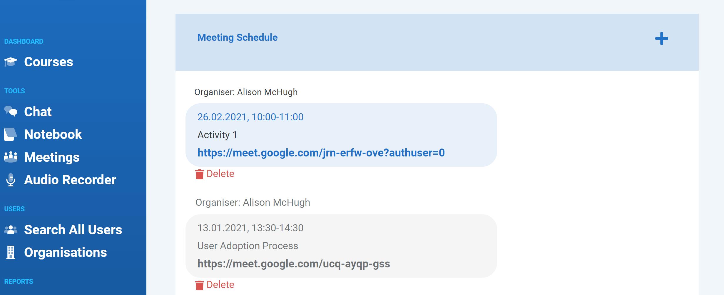 Klik2learn online class meeting schedule