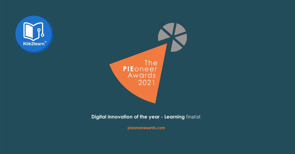 Klik2learn shortlisted as a finalist in the PIEoneer Awards 2021