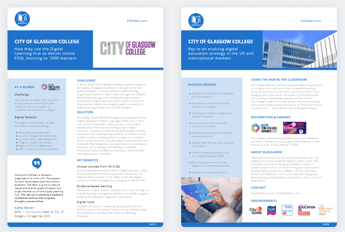 Image of City of Glasgow Case Study Klik2learn Digital Learning Hub