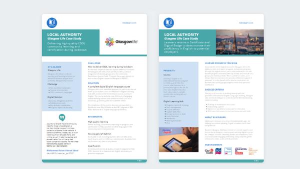 Local Gov Case Study - Glasgow Life Klik2learn - Digital Learning Hub ESOL